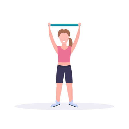 sporty woman doing exercises with resistance band girl training in gym stretching workout healthy lifestyle concept flat white background vector illustration Ilustração