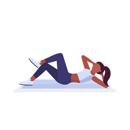 sports woman doing press exercises on mat african american girl training in gym aerobic workout healthy lifestyle concept flat white background vector illustration