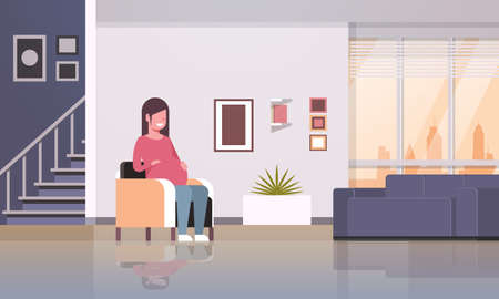happy pregnant woman sitting in armchair girl holding her bump pregnancy and motherhood concept modern home living room interior flat full length horizontal vector illustration