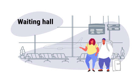airport passengers overweight fat man woman at waiting hall departure lounge interior over size people travelers standing with baggage holiday vacation concept sketch doodle horizontal vector illustration