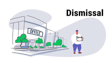 sadness overweight worker carrying box with things dismissal concept dismissed man going away unemployment crisis office building cityscape sketch doodle full length horizontal vector illustration