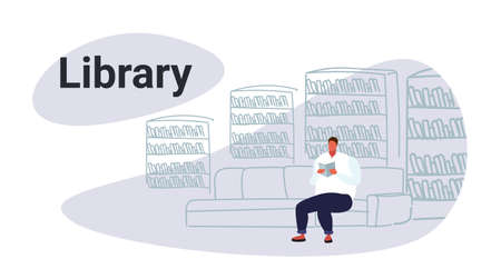 casual obese man sitting on couch in library overweight student reads book education knowledge concept bookshelf reading room interior male character full length sketch horizontal vector illustration Illustration