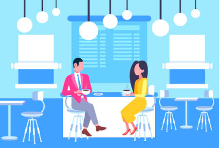 couple man woman coworkers sitting at cafe table business people having informal meeting in coffee shop discussing relationship concept full length horizontal vector illustration