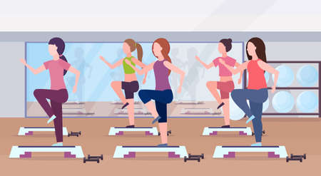 sports women group doing squats on step platform girls training in gym aerobic legs workout healthy lifestyle concept flat modern health club studio interior horizontal vector illustration