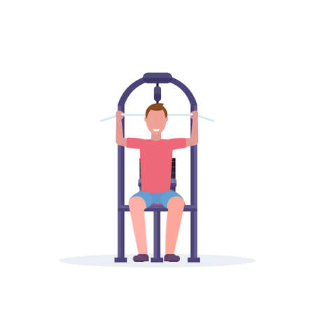 sporty man working out on lat pull down machine bodybuilder training in gym training apparatus healthy lifestyle concept flat white background vector illustration