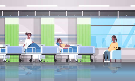 african american pregnant women patients sitting in bed and armchair girls discussing communication pregnancy and motherhood concept modern clinic ward interior flat horizontal vector illustration