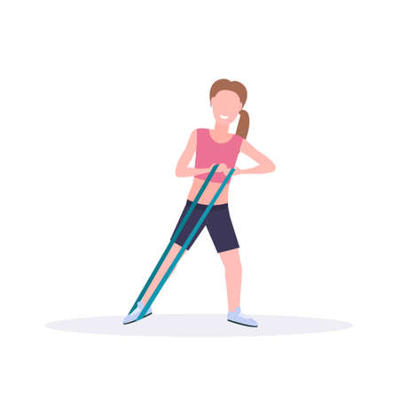 sporty woman doing exercises with resistance band girl training in gym stretching workout healthy lifestyle concept flat white background vector illustration Vettoriali