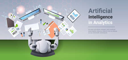 modern robot sitting at workplace humanoid analyzing financial graphs diagrams business analytics report artificial intelligence concept top angle desktop view horizontal copy space vector illustration Vector Illustration