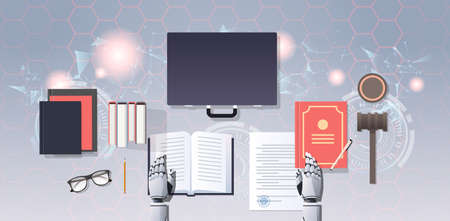 robot lawyer or judge reading law book humanoid working at workplace with gavel books and briefcase artificial intelligence justice concept top angle desktop view horizontal vector illustration