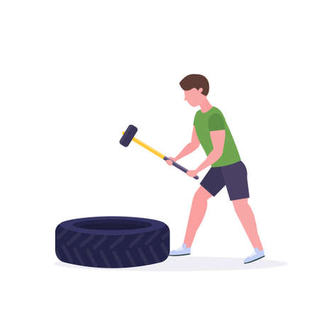 sports man hitting big tire with hummer doing hard exercises guy working out in gym crossfit training healthy lifestyle concept flat white background vector illustration