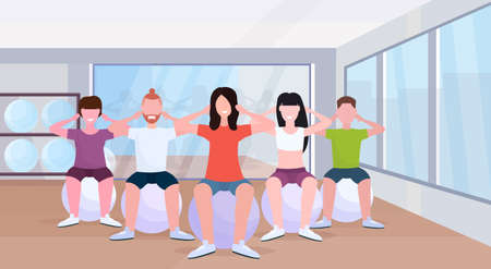 people group sitting on fitness ball men women doing press exercises training in gym aerobic workout healthy lifestyle concept modern health club studio interior horizontal vector illustration