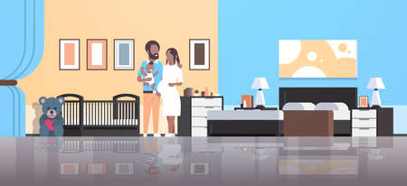 husband with pregnancy wife holding newborn baby son standing near crib happy african american family parenthood concept modern home bedroom interior flat full length vector illustration Illustration