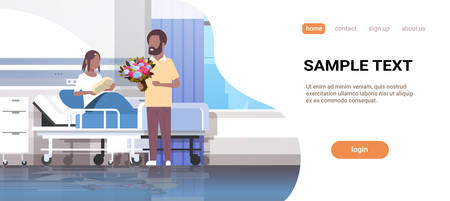 husband holding flowers bouquet for his wife with newborn baby loving father visiting new born child african american family parenthood concept hospital ward interior horizontal copy space vector illustration