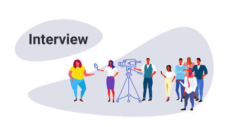 cameraman recording female journalist reporter interviewing fat obese woman mass media announcement interview concept sketch doodle horizontal vector illustration
