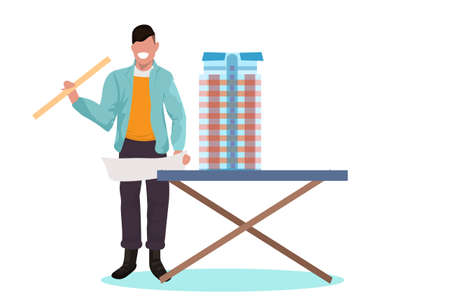 man architect holding level engineer working with new building city model for urban panning project concept house blueprint horizontal full length flat vector illustration