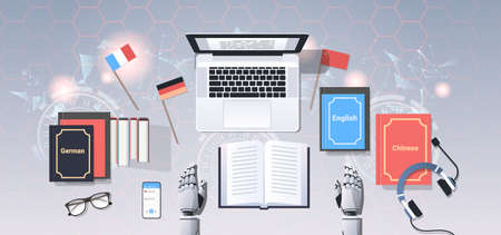 translate bot at workplace modern robot translating text document translation artificial intelligence concept top angle desktop view flat horizontal vector illustration