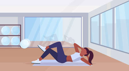 sports woman doing press exercises on mat african american girl training in gym aerobic workout healthy lifestyle concept flat modern health club studio interior horizontal vector illustration