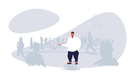 obese fat man standing out from crowd people silhouettes over size guy different individuality concept cityscape background sketch doodle horizontal vector illustration Vectores