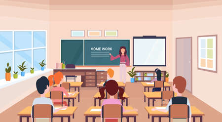 pupils looking at woman teacher writing home work chalk board modern school classroom interior horizontal flat vector illustration