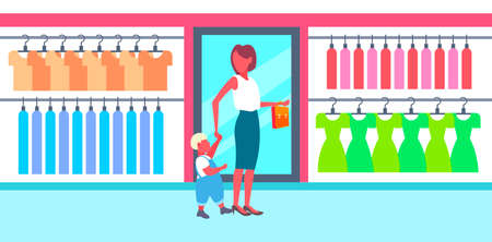 woman with her baby son choosing new clothes young mother and little boy walking big fashion shop boutique modern shopping mall interior horizontal full length vector illustration