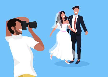 wedding photographer shooting on camera newlyweds man woman couple posing together man taking professional photo horizontal flat vector illustration