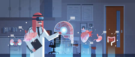 male arab doctor wearing digital glasses touching virtual reality brain human organs infographic anatomy medical vr headset vision concept hospital office interior portrait horizontal vector illustration