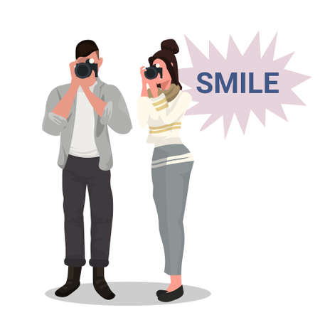 couple photographers taking photo with camera woman man standing and shooting professional occupation male female cartoon characters full length flat white background vector illustration