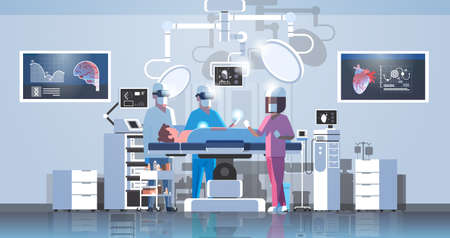 surgeons team surrounding patient on operation table medical workers wearing virtual reality glasses looking brain and heart infographic high tech operation room horizontal full length vector illustration