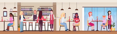 guests at bar counter and tables drinking alcohol bartender and waitress serving drinks to mix race clients modern cocktail bar restaurant interior flat horizontal banner vector illustration