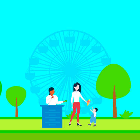 woman buying ice cream to his little son happy family walking city park mother and child having fun ferris wheel landscape background full length flat vector illustration