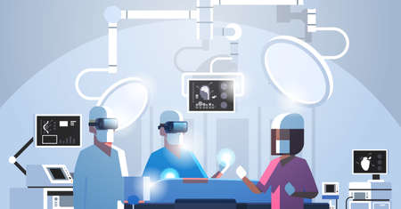 surgeons medical team wearing virtual reality holographic hololens glasses operating patient high tech operation room horizontal portrait vector illustration