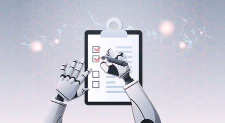 robot hands holding check list paper document ticking off check boxes top angle view artificial intelligence digital futuristic technology concept horizontal vector illustration