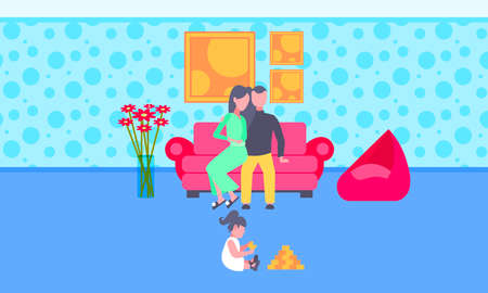 little child playing toys on floor while parents sitting on couch at home happy family relaxing mother father and daughter spending time together living room interior full length horizontal vector illustration