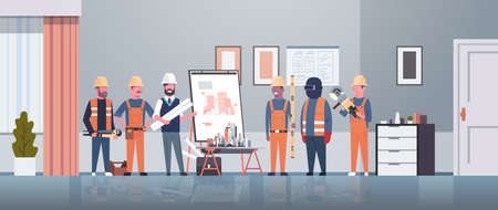 man architect engineer showing drawing building blueprint on easel board to construction workers group panning project team meeting presentation concept horizontal full length vector illustration
