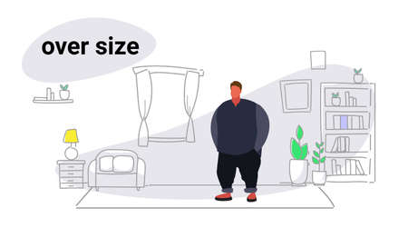 abdomen fat overweight man fatty guy obesity over size concept unhealthy lifestyle modern living room interior full length sketch doodle horizontal vector illustration