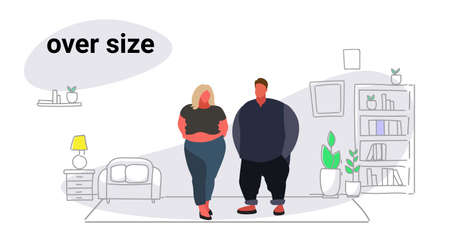 abdomen fat overweight couple man woman cartoon characters obesity over size concept unhealthy lifestyle modern living room interior full length sketch doodle horizontal vector illustration Illustration