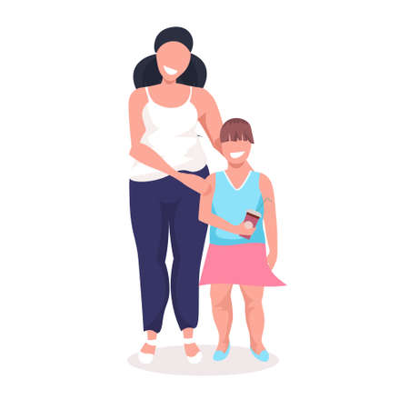 overweight little girl with obese mother fat over size family woman with daughter standing together unhealthy lifestyle concept female cartoon characters full length white background vector illustration Illustration