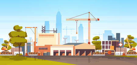 modern city construction site tower cranes building residential buildings cityscape skyline background flat horizontal banner vector illustration