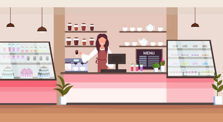 female barista coffee shop owner smiling woman standing behind bar counter modern cafeteria interior flat horizontal cartoon character portrait vector illustration Banque d'images - 124210471