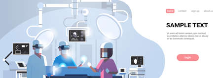 surgeons medical team wearing virtual reality holographic hololens glasses operating patient high tech operation room horizontal portrait copy space vector illustration