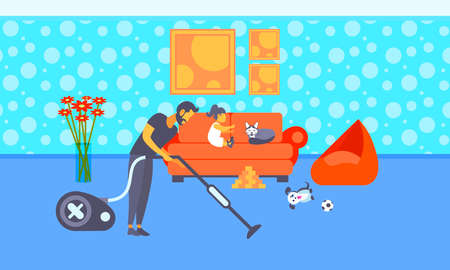 father cleaning floor with vacuum cleaner while little girl playing with cat on sofa family spending time together housekeeping concept living room interior full length horizontal vector illustration