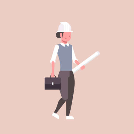 woman architect in helmet holding rolled up blueprints happy female engineer panning project construction industry concept professional occupation full length flat vector illustration