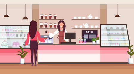 female barista coffee shop worker serving woman client giving glass of hot drink waitress standing at cafe counter modern cafeteria interior flat horizontal vector illustration 스톡 콘텐츠 - 124210485