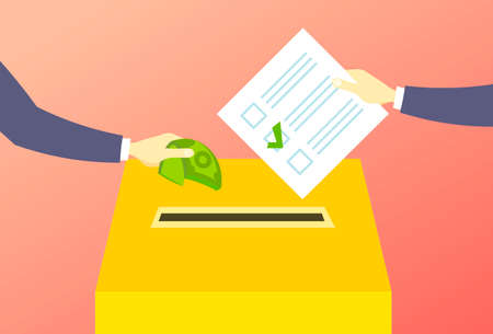 voter putting paper ballot list in box selling vote hand giving money during voting election corruption concept flat horizontal vector illustration