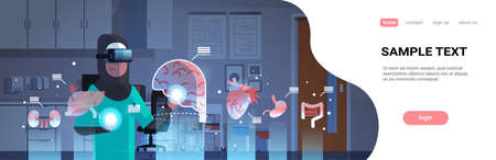 female arab doctor wearing digital glasses touching virtual reality brain human organs infographic anatomy medical vr headset vision concept hospital interior portrait horizontal copy space vector illustration