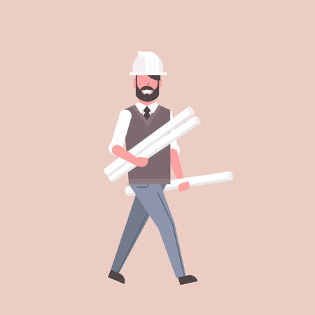 man architect in helmet holding rolled up blueprints happy engineer panning project construction industry concept professional occupation full length flat vector illustration