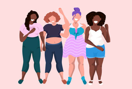 fat obese women group standing together mix race smiling overweight casual girls obesity concept female cartoon characters full length flat horizontal vector illustration