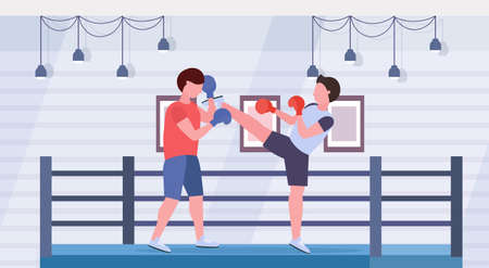 two boxers training kick boxing exercises fighters in gloves practicing together modern fight club ring arena interior healthy lifestyle concept flat horizontal full length vector illustration