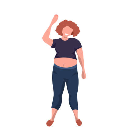 fat obese woman standing pose smiling overweight casual girl obesity concept female cartoon character full length flat white background vector illustration Illustration