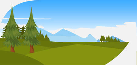 beautiful pine trees green forest mountains and hills landscape background natural scene horizontal panorama flat vector illustration Иллюстрация